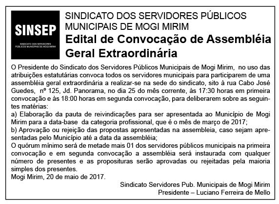 Edital de convocação para assembleia dissídio 2017