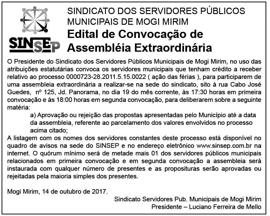 Edital publicado na edição do dia 14/10/2017, no jornal O Popular de Mogi Mirim