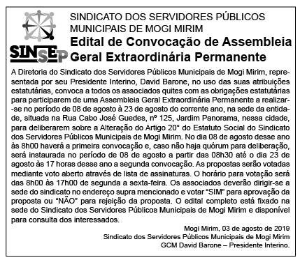 Edital publicado na edição do dia 03 de agosto de 2.019 no jornal A Comarca.